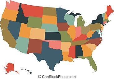 mapa, político, coloridos, eua