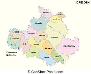 mapa, político, dresden, saxon, capital, administrativo