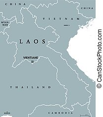 mapa, político, laos