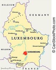 mapa, político, luxemburgo
