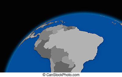 mapa, político, planeta, terra,  América, SUL