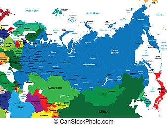 mapa, político, rusia