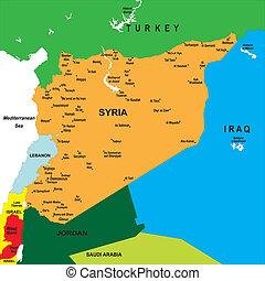mapa, político, síria