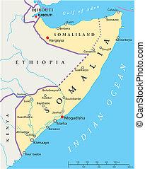 mapa, político, somalia