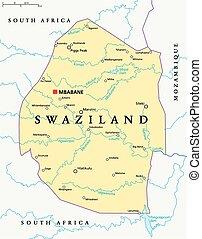 mapa, político, swazilandia