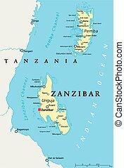 mapa, político, zanzibar
