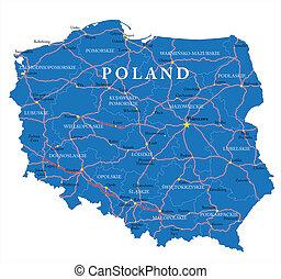 mapa, polônia