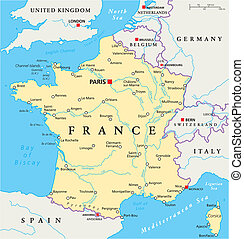 mapa, polityczny, francja