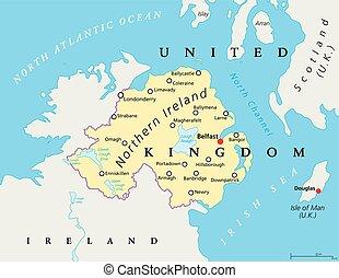 mapa, polityczny, północna irlandia