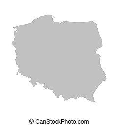 mapa, polonia, gris