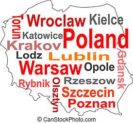 mapa, polonia, más grande, palabras, ciudades, nube