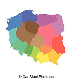 mapa, polonia, -, voivodeships