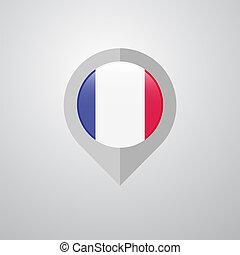 mapa, ponteiro, bandeira frança, vetorial, desenho, navegação