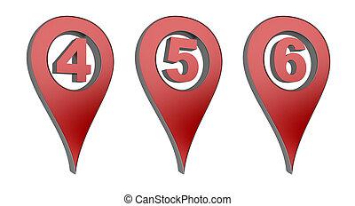 mapa, ponteiro, com, números, 4, 5, 6