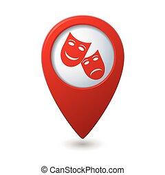 mapa, ponteiro, com, teatro, ícone