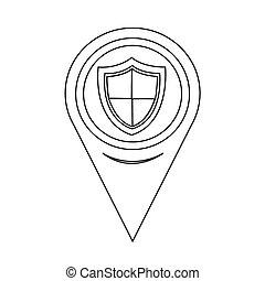 mapa, ponteiro, escudo, sinal, proteção, ícone