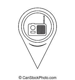 mapa, ponteiro, rádio, ícone