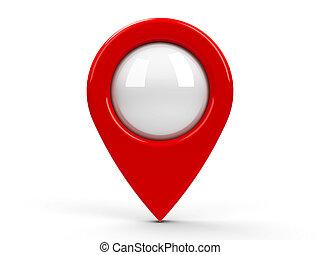 mapa, ponteiro, vermelho, em branco