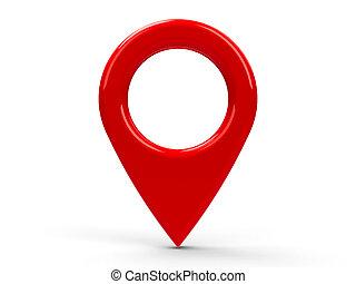 mapa, ponteiro, vermelho