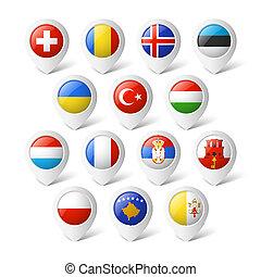 mapa, ponteiros, com, flags., europe.