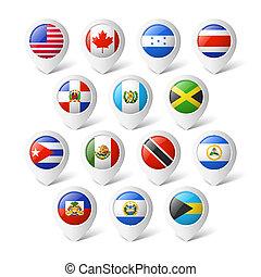 mapa, ponteiros, flags., america.