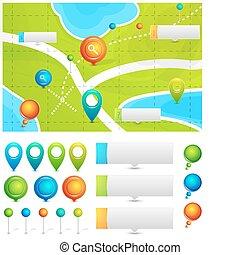mapa, ponteiros, vetorial, localização