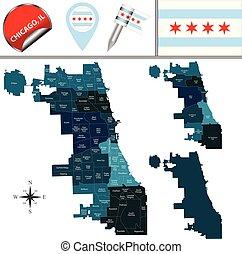 mapa, powierzchnie, współposiadanie, chicago