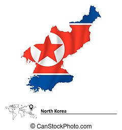 mapa, prapor, korea, sever