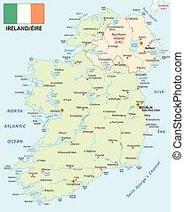 mapa, prapor, vektor, republika, irsko