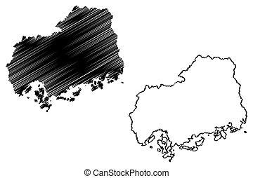 mapa, prefectura, hiroshima