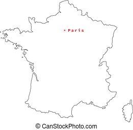 mapa, pretas, vetorial, frança, esboço, paris., ilustração, cidade capital