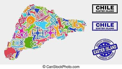 mapa, producto, watermark, collage, isla, herramientas,...