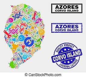 mapa, producto, watermark, corvo, isla, tecnología, calidad, composición