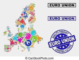 mapa, produto, industrial, colagem, selo, selo, euro, qualidade, união