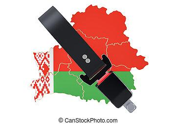 mapa, proteger, seguridad, concepto, seguro, interpretación, seguridad, belorussian, belt., o, 3d