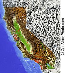 mapa, protegidode la luz, california, alivio