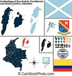mapa, providencia, san, colombia, andres