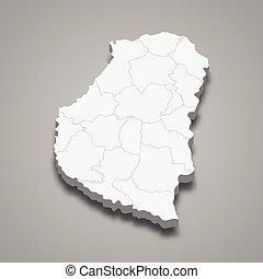 mapa, provincia, argentina, 3d, isométrico, entre, rios
