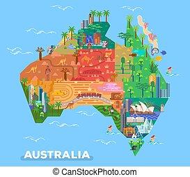 mapa, punkty orientacyjny, australia, architektura