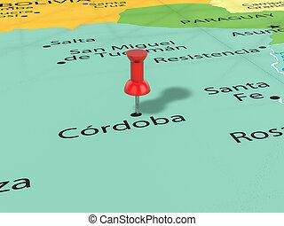 mapa, pushpin, córdoba