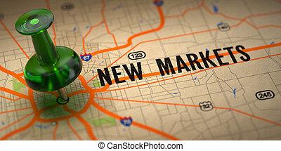 mapa, pushpin, -, fondo., verde, nuevo, mercados