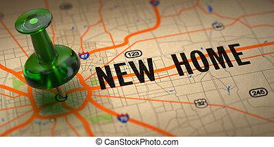 mapa, pushpin, -, tło., zielony, nowy dom