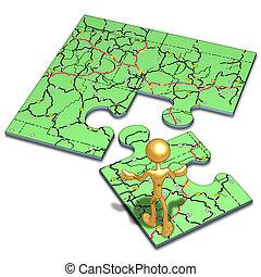 mapa, quebra-cabeça, conceito, estrada