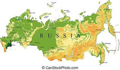 mapa rússia, alívio