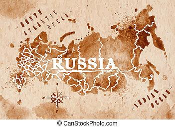 mapa, rússia, retro
