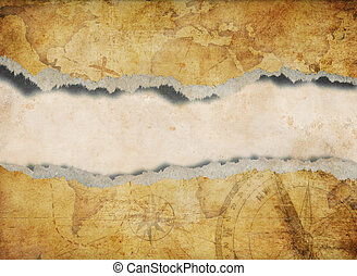 mapa, rasgado, antigas, rasgado, fundo, ou