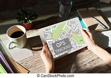 mapa, rastrear, sistema global que posiciona, screen., dispositivo, gps