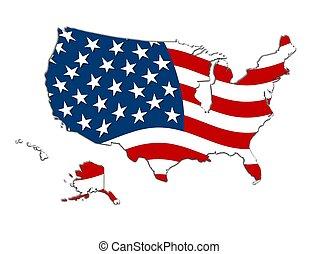 mapa, rayas estrellas, estados unidos de américa, y
