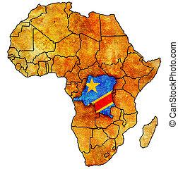 mapa, real, áfrica, congo, república, democrático