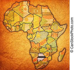 mapa, real, botsuana, áfrica